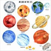 Watercolor Planets Clipart Solar System Science Images Galaxy Space Graphics Seamless Pattern