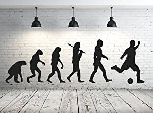 ⚽ Evolution mal anders: Cooles Wandtattoo für Fußballfans. Lieferbar in mehr als 30 Farben: ⚽