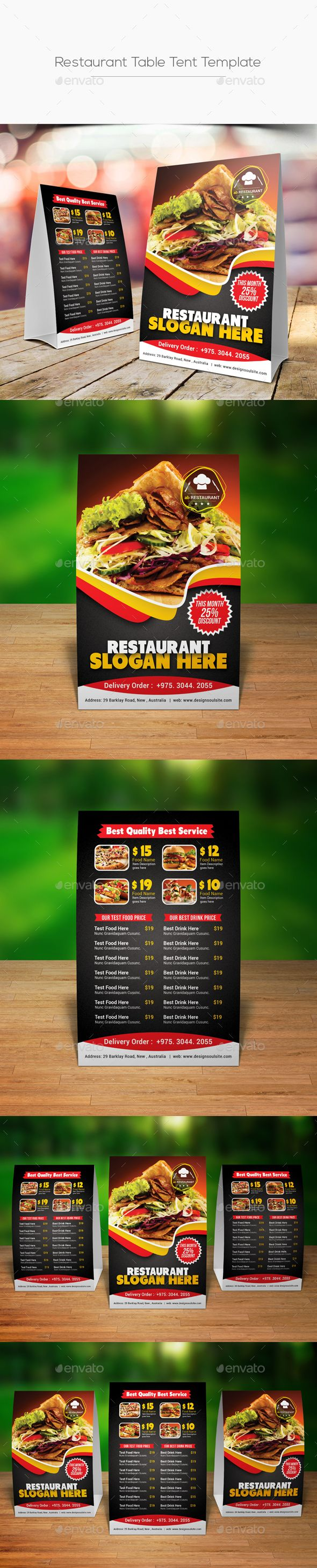 Restaurant Table Tent Template  Table Tents Restaurant Tables