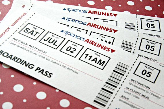Airplane Ticket Invitation Printable - Birthday Party, Paper - plane ticket invitation template