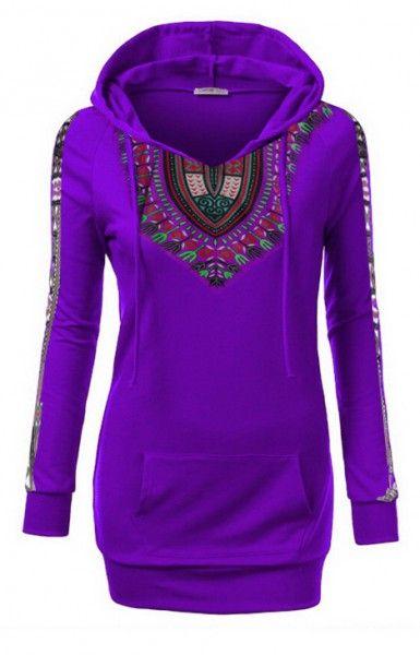 Dashki Fabric African Fashion Ankara Kitenge African: Ladies Dashiki Lined Hoodie