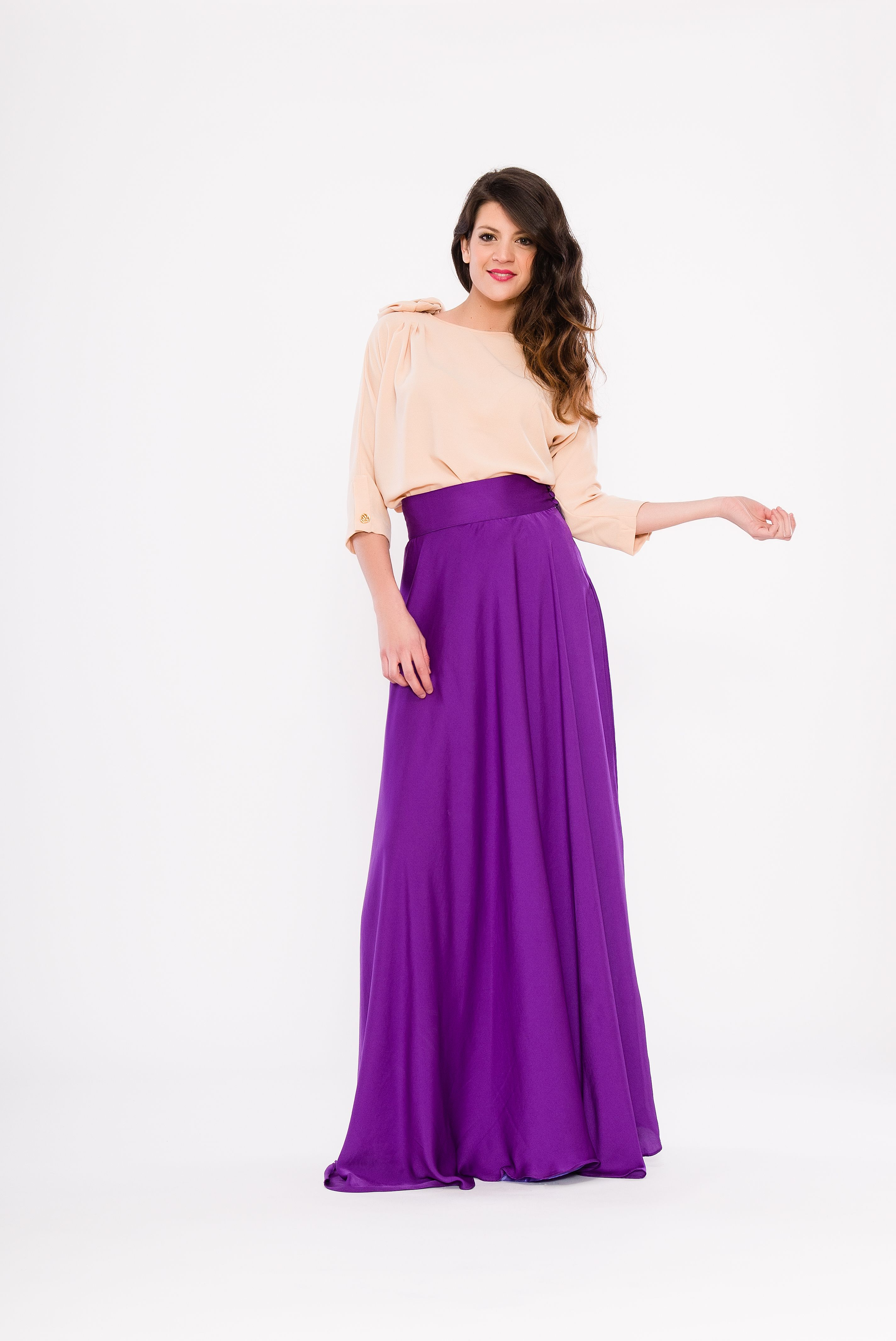 Falda morada y blusa maquillaje | faldas largas | Pinterest | Falda ...
