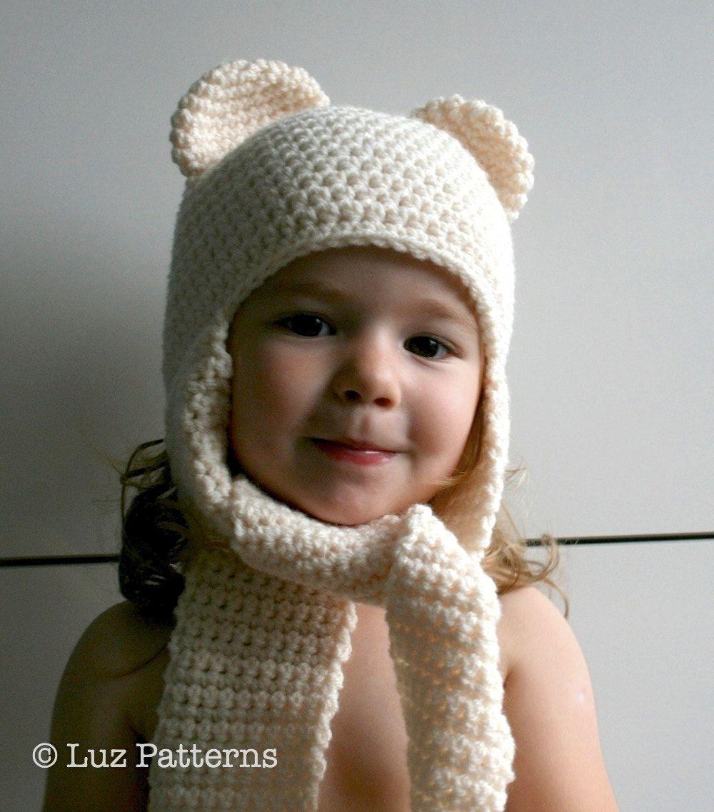 Free Knitting Patterns Childrens Hats And Scarves : Crochet hat pattern, INSTANT DOWNLOAD, crochet baby bear hat pattern, bear ha...