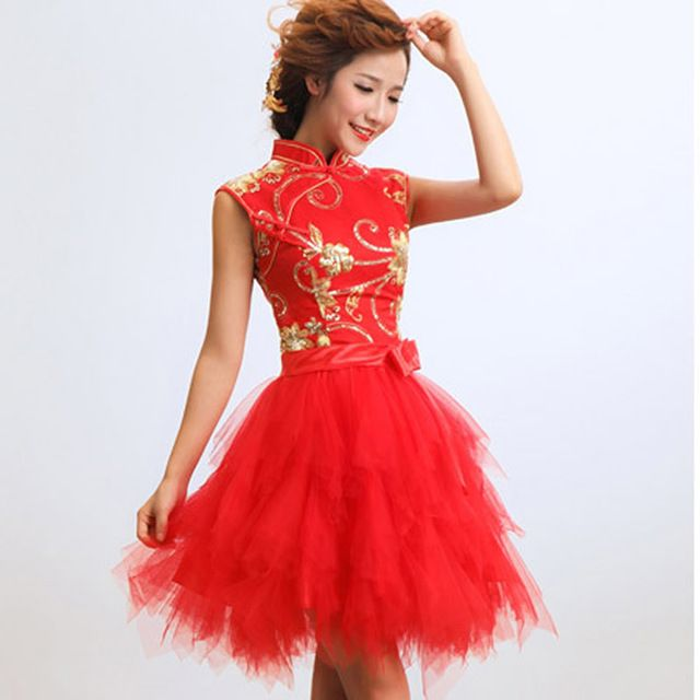 2d6456bdf77425 Rood Kant Chinese Traditionele Jurk Vrouwen Korte Cheongsam Jurk Chinese  Oosterse Jurken Vintage Trouwjurk Mini Qipao