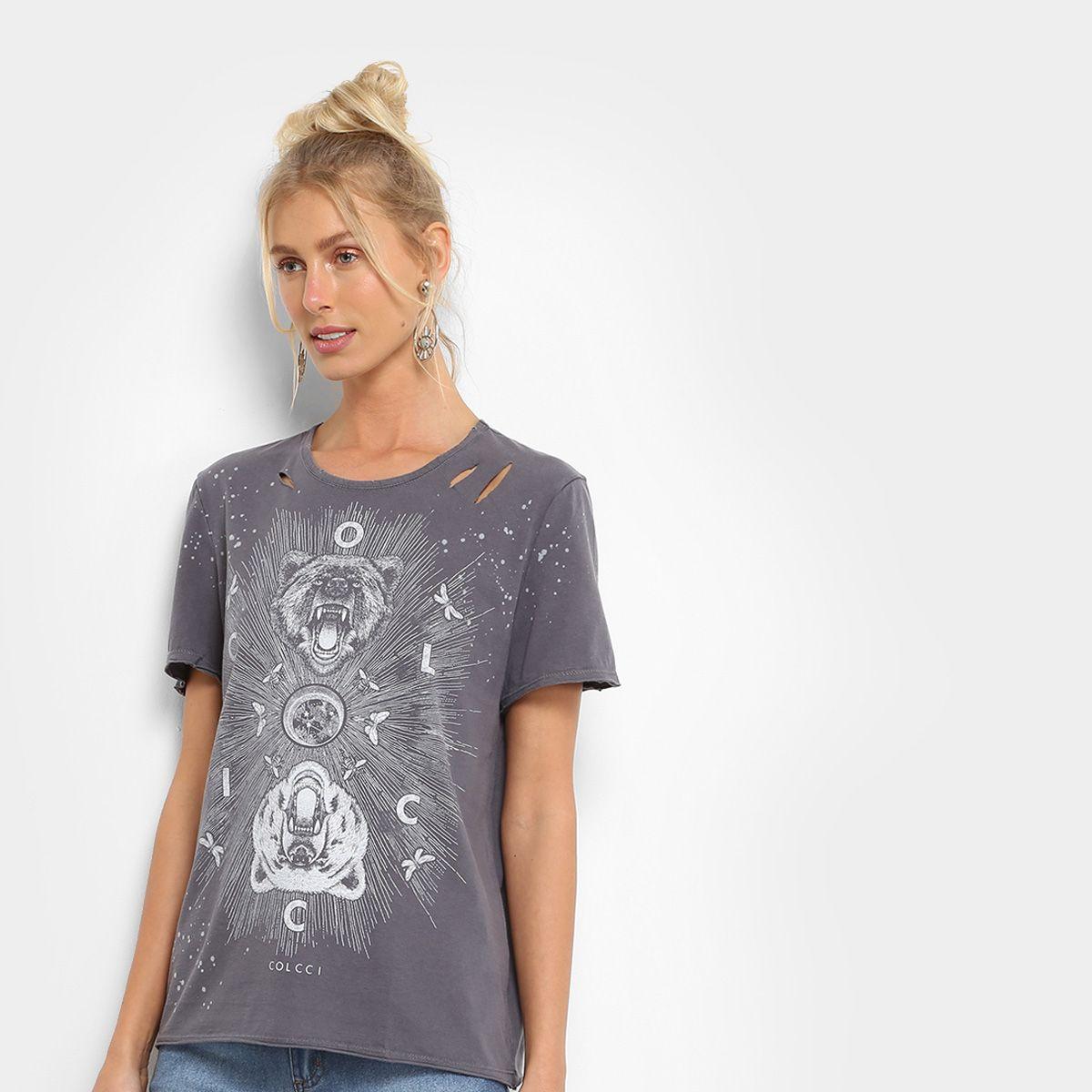 98b8795ab Camiseta Colcci Estampada Rasgo Feminina - Preto   Basic   Estampas ...