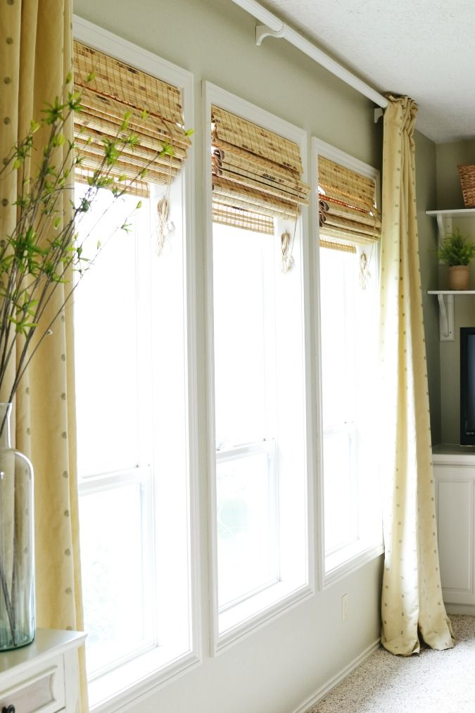 Bamboo Roman Shades In The Family Room At The Picket Fence Bamboo Roman Shades Family Room Kitchen Window Treatments