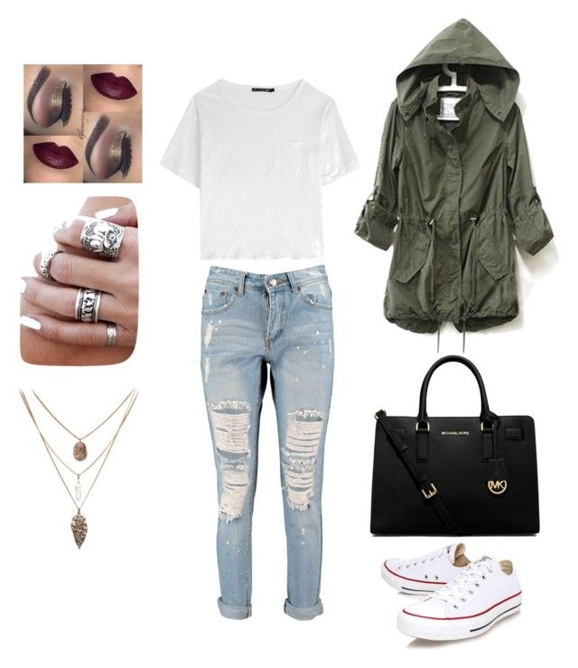 """""""Untitled #68"""" by simplybows on Polyvore featuring Boohoo, rag & bone, Converse and MICHAEL Michael Kors"""