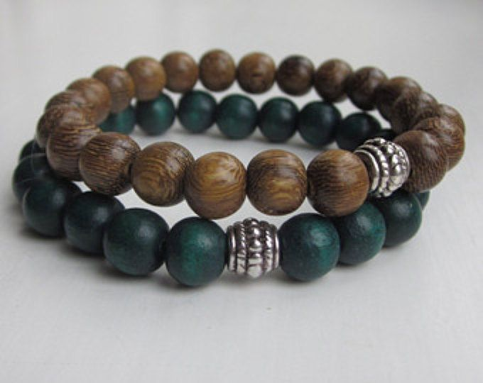 Wood Bead Bracelet For Men Mens Jewelry Wooden Stutter Etsy Mens Beaded Bracelets Bracelets For Men Wood Bead Bracelet