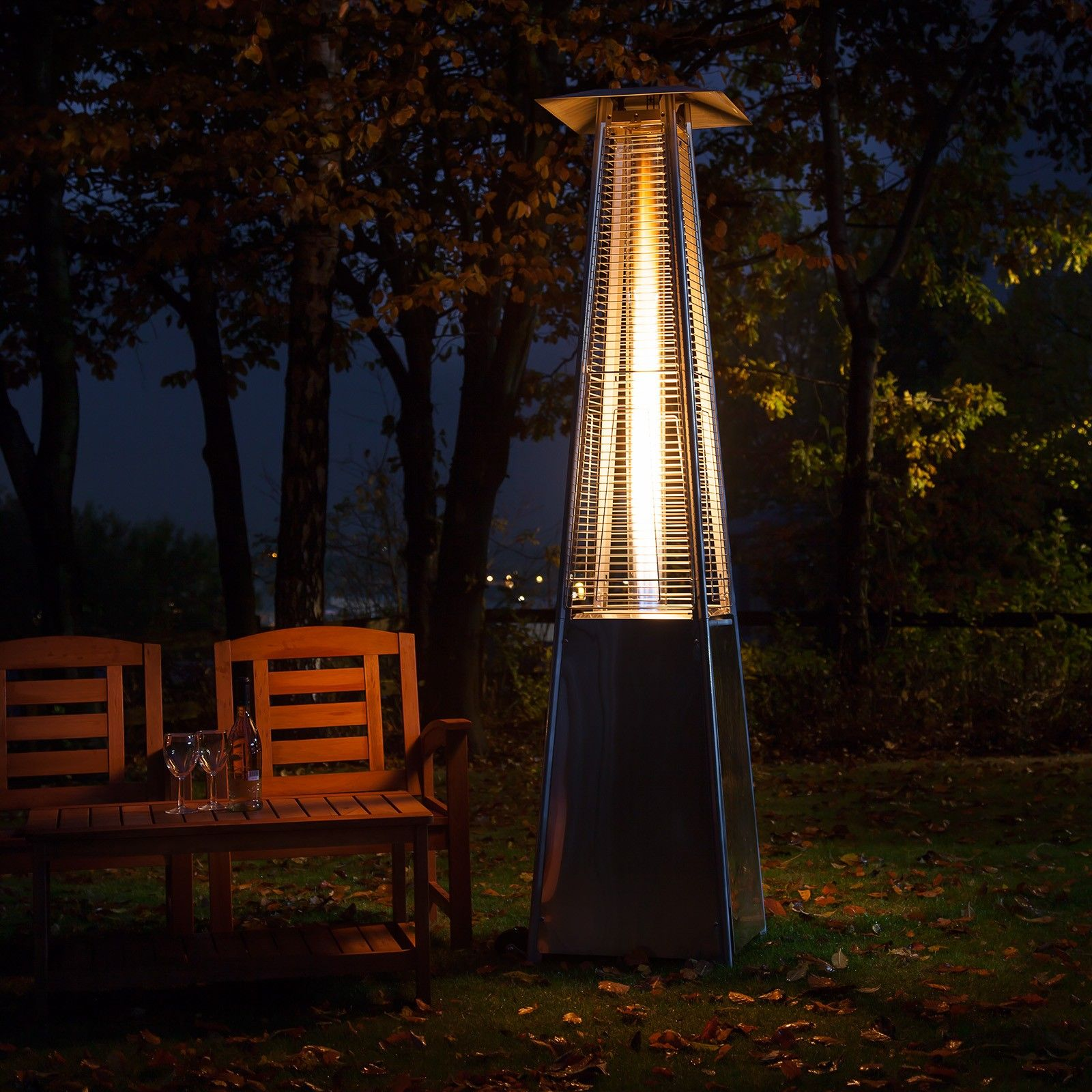 Living Flame Patio Heater Stainless Steel Gas patio