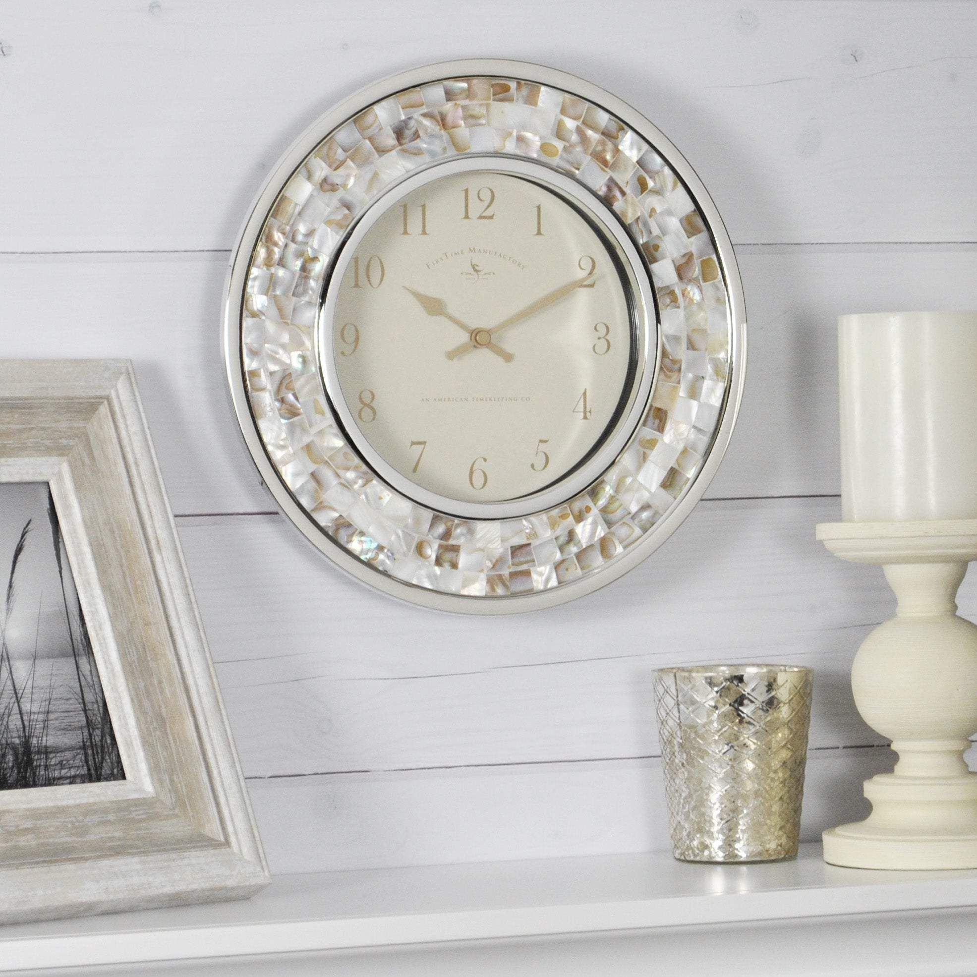 Photo of FirsTime & Co.® Pearl Mosaic Wall Clock – 10.25 x 2 x 10.25 in / White