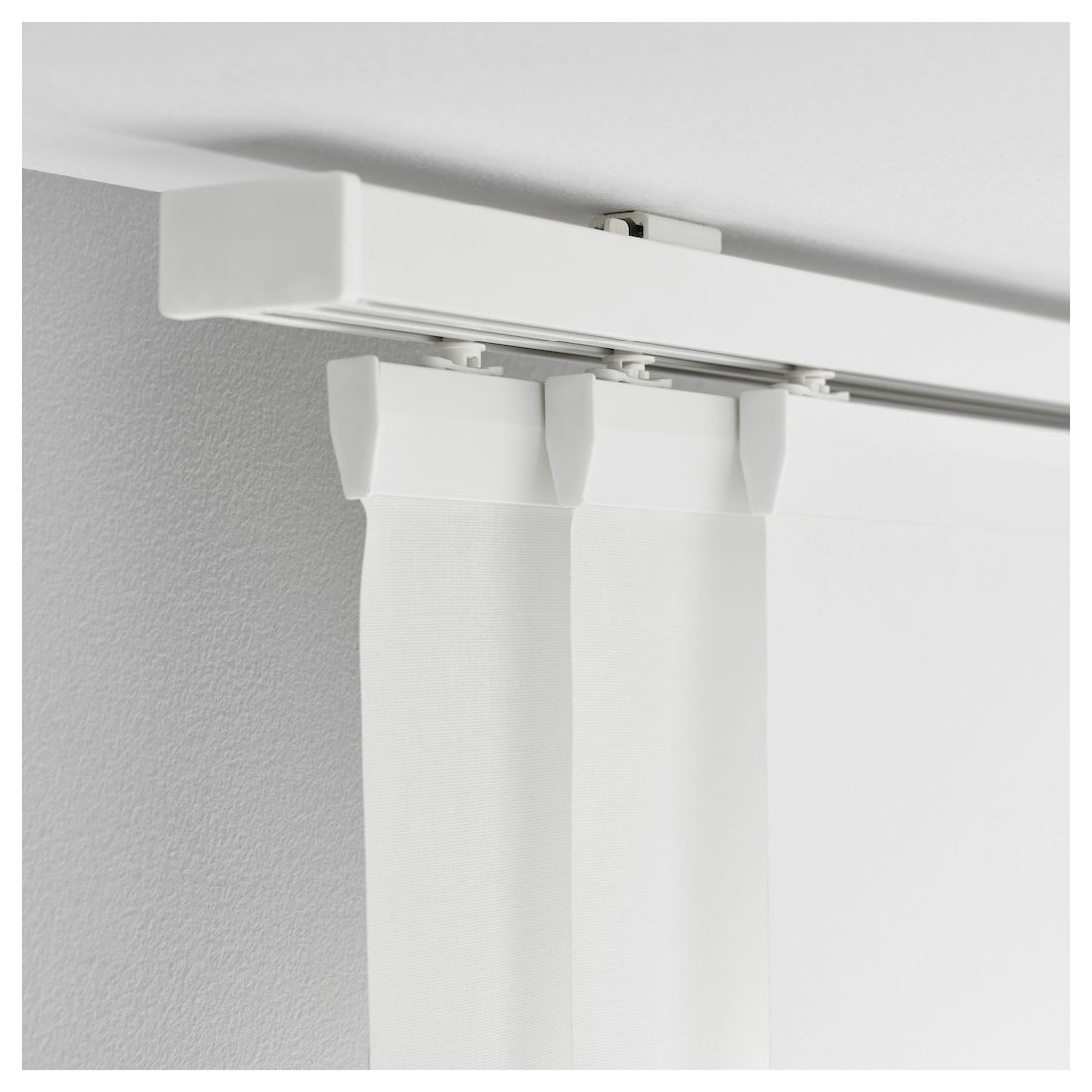 IKEA VIDGA White Triple Curtain Rail