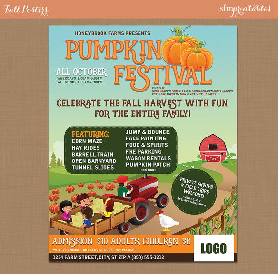 Fall Festival Harvest Invitation Poster Flyer Pumpkin Patch Farm Template Church School Community Hayride Fundraiser Autumn Barn By