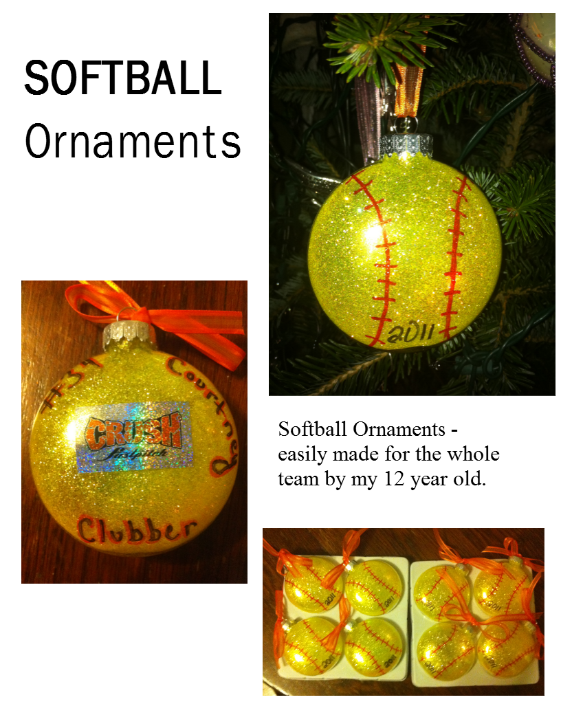 Flat glass ornaments - Cute And Easy Softball Ornaments Pre Purchased Glass Flat Balls The Pledge Floor Wax Glitter Interior Decoration Method And Some Personalization With A