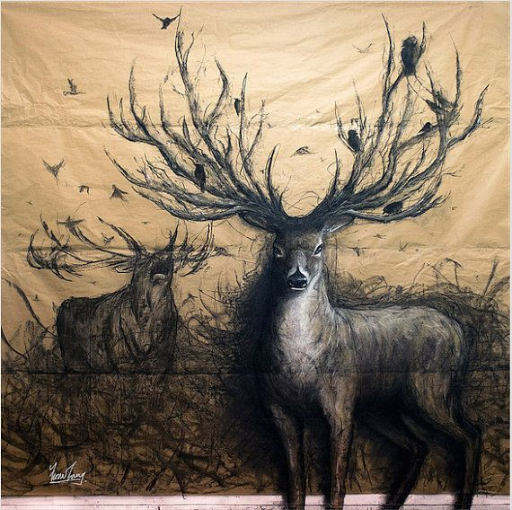 Image De Art Deer And Drawing: The Guardian By Fiona Tang. Art Print, Charcoal Drawing