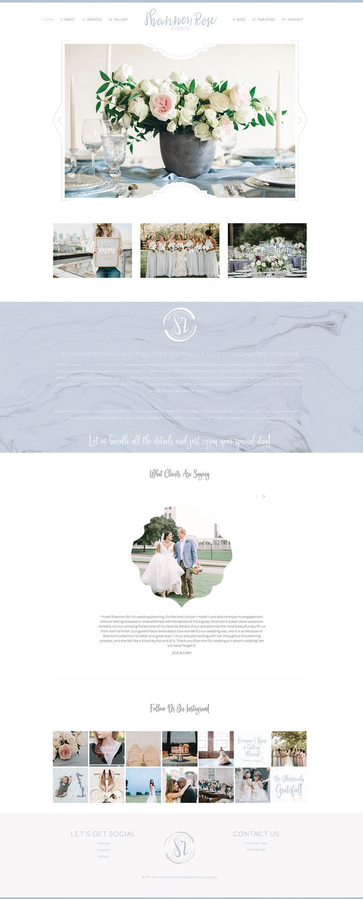 Alyssa Joy Co Squarespace Web Design Shannon Rose Events Fort Worth Boutique Wedding Squarespace Web Design Web Development Design Web Design Company