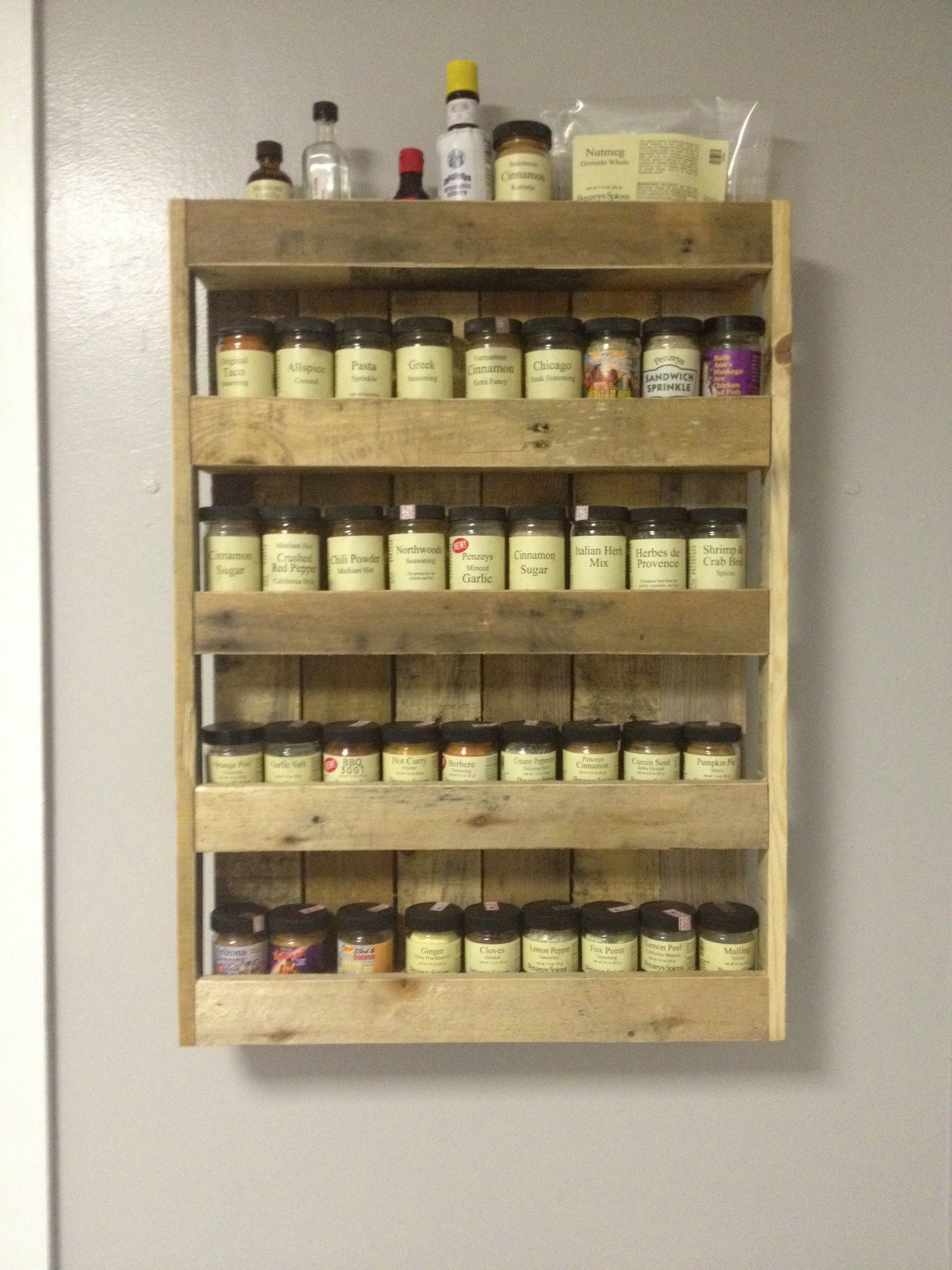 Creative Spice Storage Spice Rack Made From Pallets Pallet Ideas Pinterest