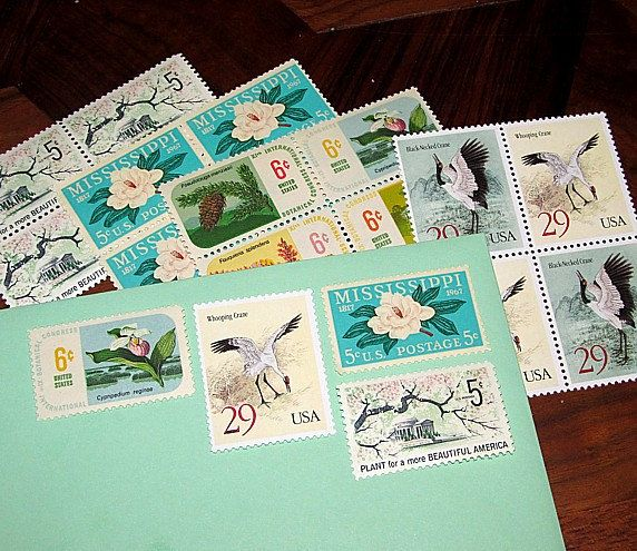 FLOWERS and CRANES Unused Vintage US Postage Stamps for you to