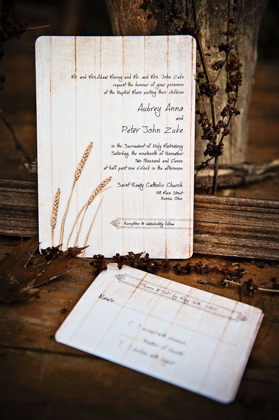 Rustic Wedding Invitations Wheat on Vintage by DaysGoneDesign ...