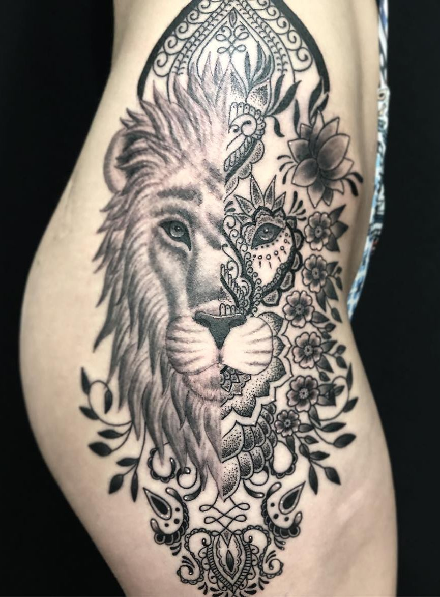 Awesome Lion Mandala Tattoo C Tattoo Artist Eye Of Jade Tattoo Chico Ca Mandala Tattoos For Women Tattoos Mandala Tattoo Design