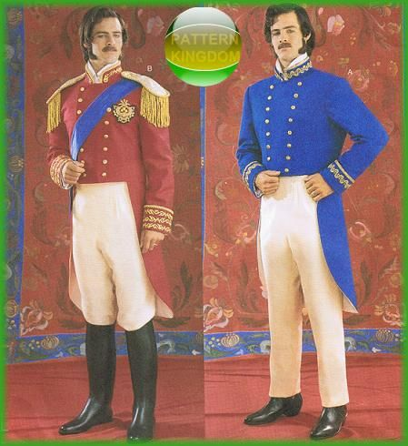 Butterick 3723 Mens 19th Century Military Uniform Prince ...