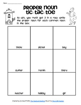 Proper Noun Tic Tac Toe  Teaching    Proper Nouns Tic