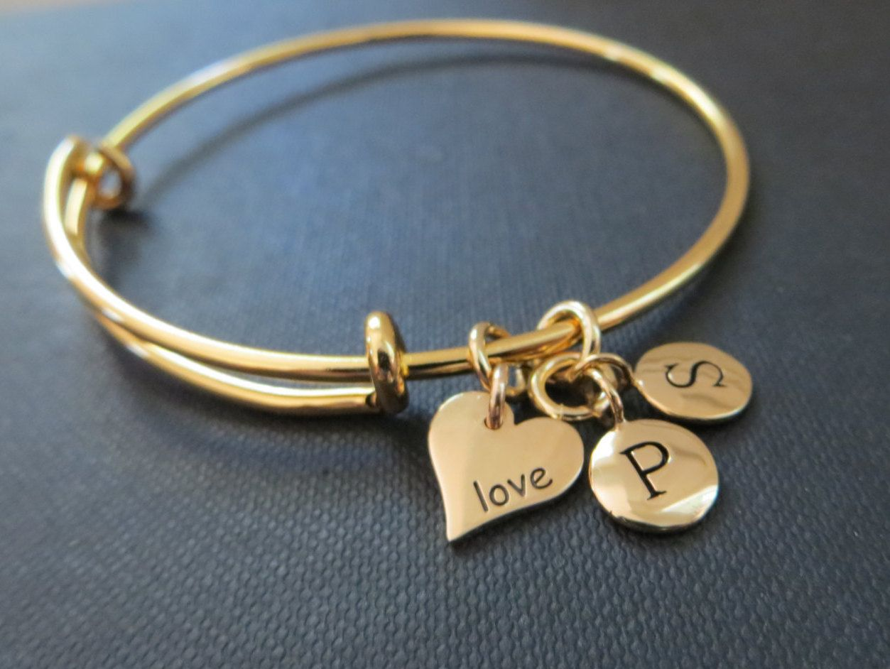 afbf7d1c6d391 Valentines day gift for her, Love engraved bangle, heart initial ...