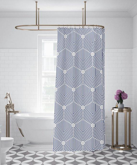 Indigo Geometric Pattern Shower Curtain Custom Printed