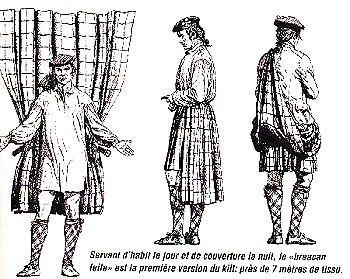 The belted plaid via Scottish Tartan Authority.