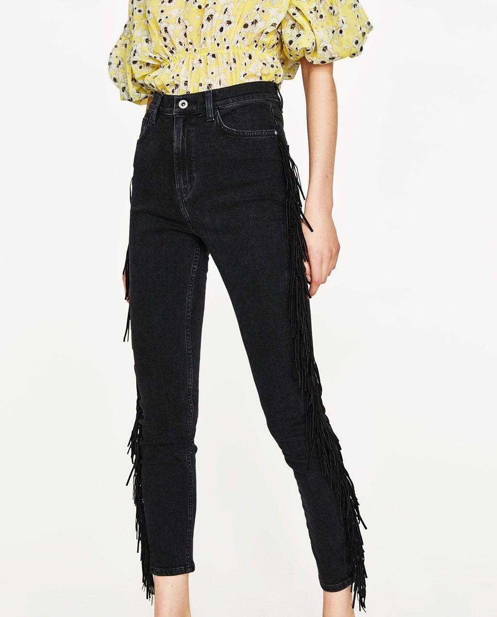 73691506d12 HIGH WAIST JEANS WITH FRINGE-View All-JEANS-WOMAN