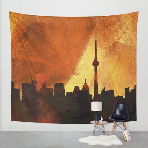 Toronto Skyline Wall Tapestry by George Michael | Society6. Available in three distinct sizes, our Wall Tapestries are made of 100% lightweight polyester with hand-sewn finished edges. Featuring vivid colors and crisp lines, these highly unique and versatile tapestries are durable enough for both indoor and outdoor use. Machine washable for outdoor enthusiasts, with cold water on gentle cycle using mild detergent - tumble dry with low heat.