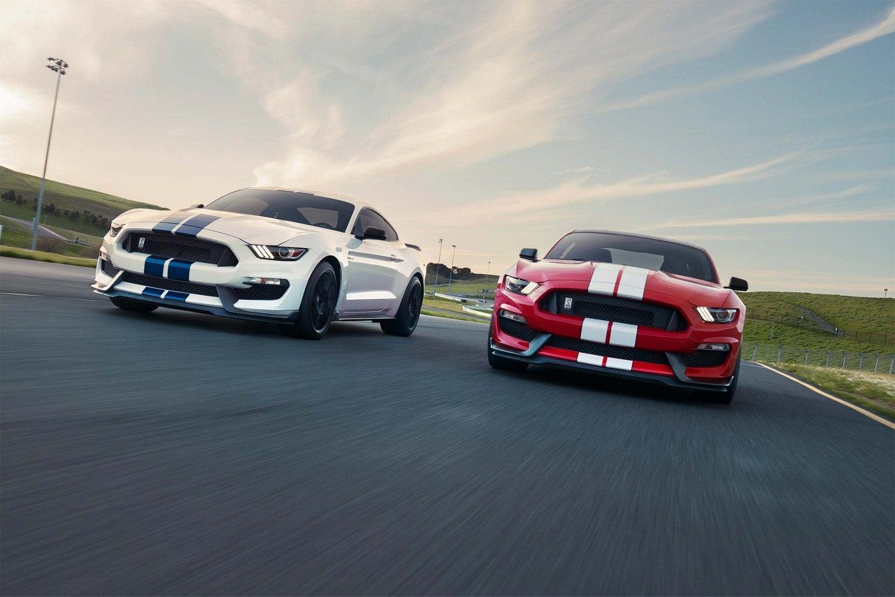 Two 2018 Shelby GT350's getting ready to take a turn on