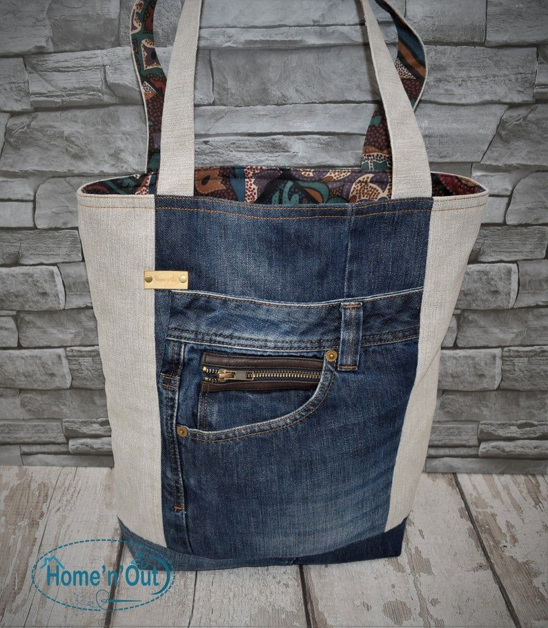Recycled denim jeans tote bag with pencil case, denim handbag, shopping bag with pockets, upcycled denim, recycled old jeans handbag #pursesandbags