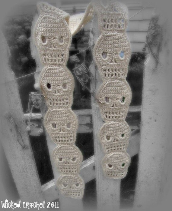 Cute Crochet Skull Scarf PDF Pattern | Calaveras, Tejido y Algun