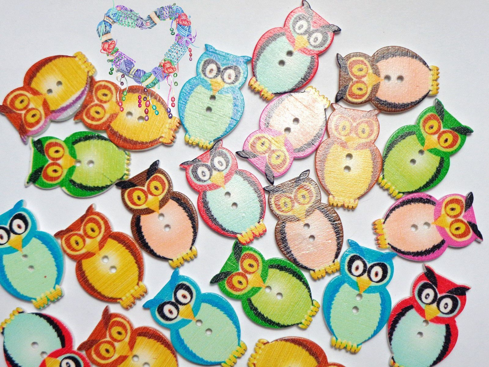 Hooty Owl Wood Buttons Lot Of 10 2 Hole Assorted Colors Owls