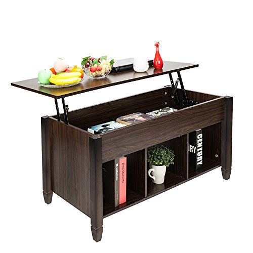 Bonnlo Lift Top Coffee Table With Storage Shelf W Hidden Compartment And 3 Lower Open Shelves For Living Room Brown Up