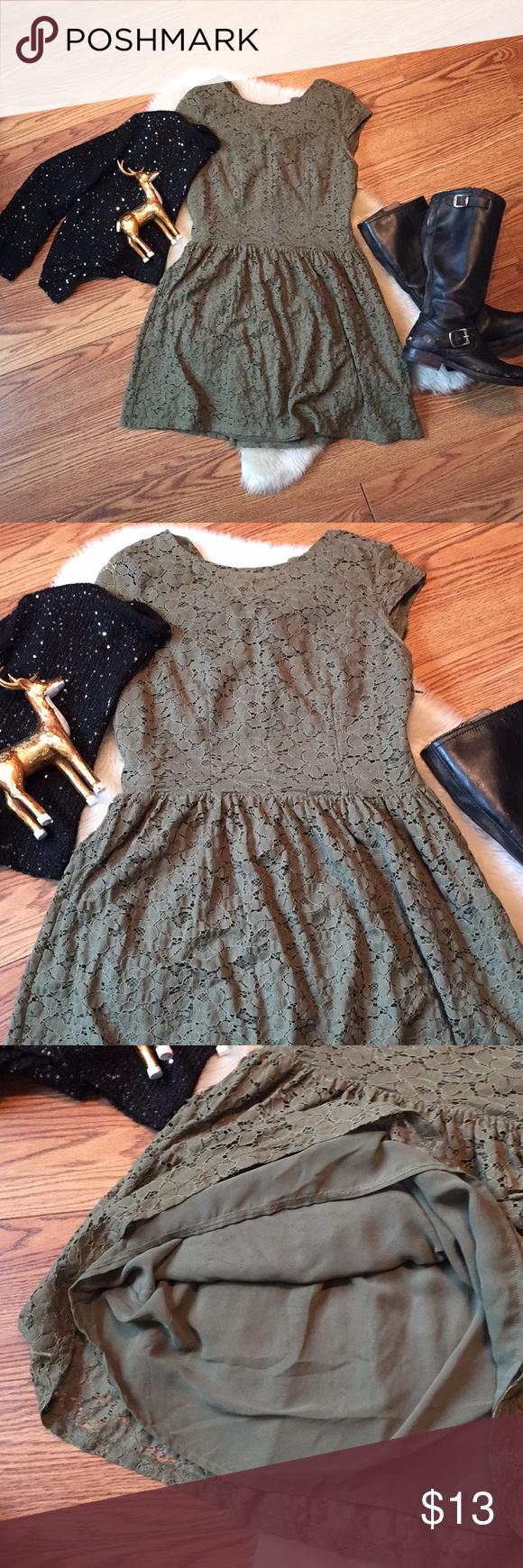 H&m green lace dress  Olive green HuM lace dress