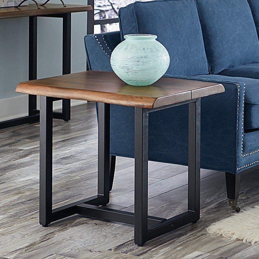 The Faux Live Edge And Deep Walnut Finish On The Aspen Side Table