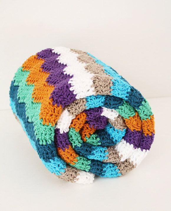 Retro crochet baby blanket, ripple stitch. | Stripes | Pinterest ...