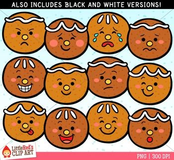 Gingerbread Faces Clipart | Little red, Faces and Red