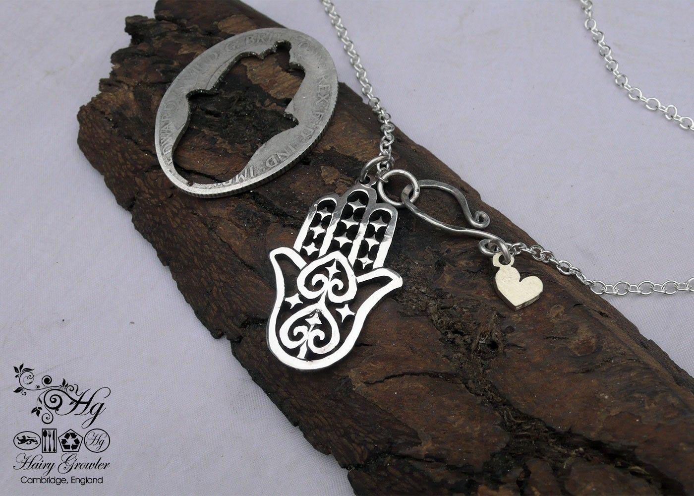 Hand of hamsa fatima silver pendants handmade and recycled hand of hamsa fatima silver pendants handmade and recycled using silver coins khmissa mozeypictures Gallery