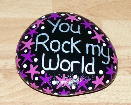 Hand painted pebble, stone, You Rock My World, birthday, Christmas gift | eBay