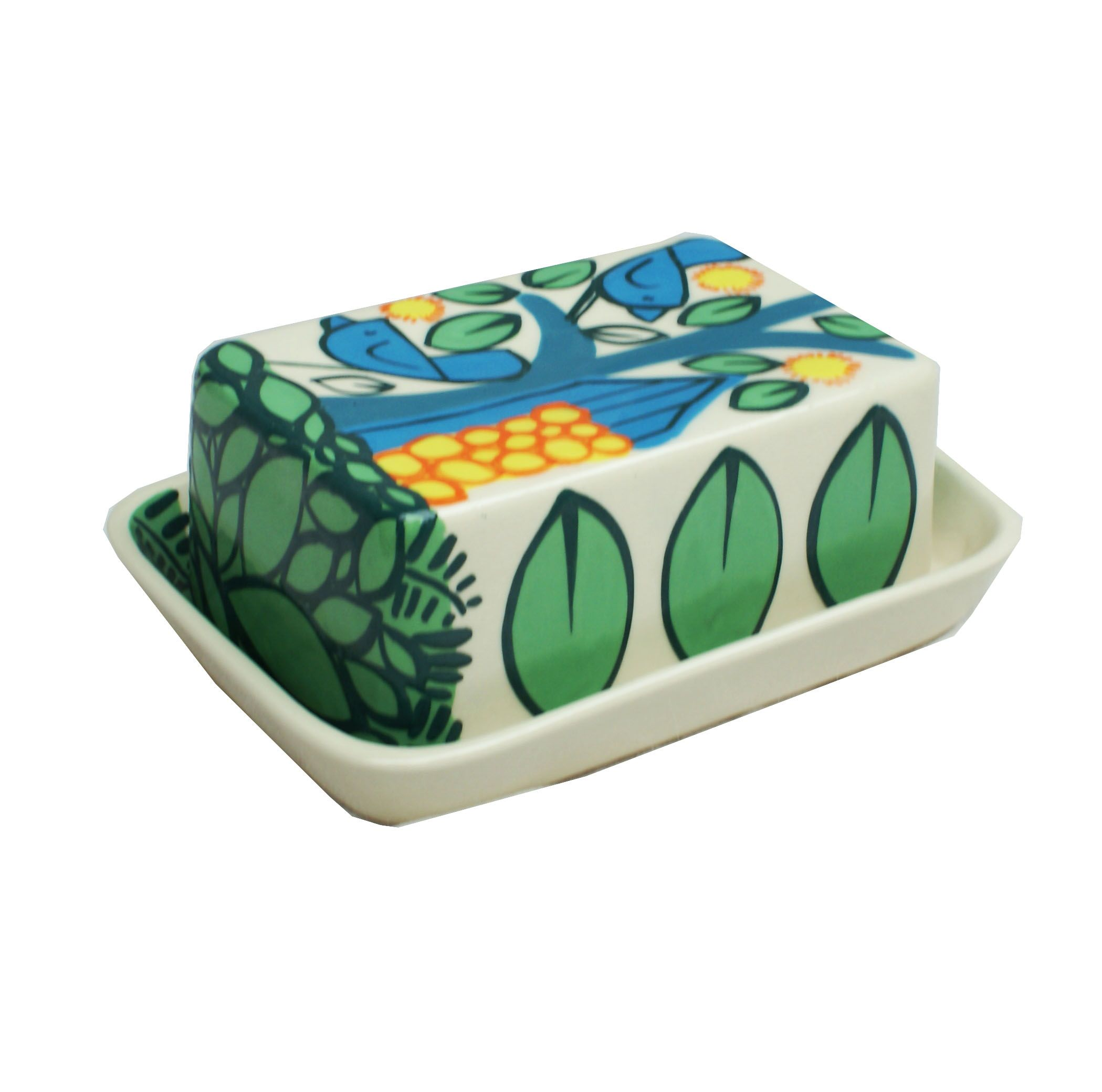 Beautiful handmade ceramic butter dish. Dishwasher and microwave safe Made using a white earthenware clay which is decorated with slips, glazed and once-fired.