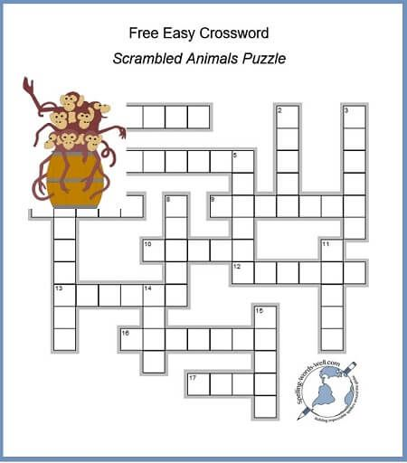 A Free Easy Crossword With Scrambled Animals