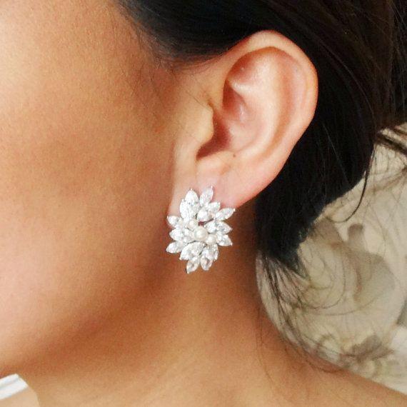 Statement Cubic Zirconia Bridal Stud Earrings Vintage Inspired Wedding Jewelry Cz Flower Estelle
