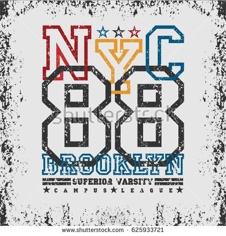 T Shirt New York Brooklyn Sports Athletics Typography Fashion Rh Com Elon College Logo Logos And Names