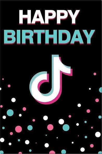 Tik Tok Logo Backdrop Happy Birthday Color Point Backdrop For Photography Tt014 Happy Birthday Logo Happy Birthday Parties Birthday Logo