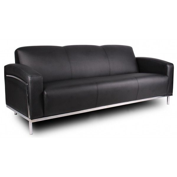 Boss Black Sofa W/Chrome Frame