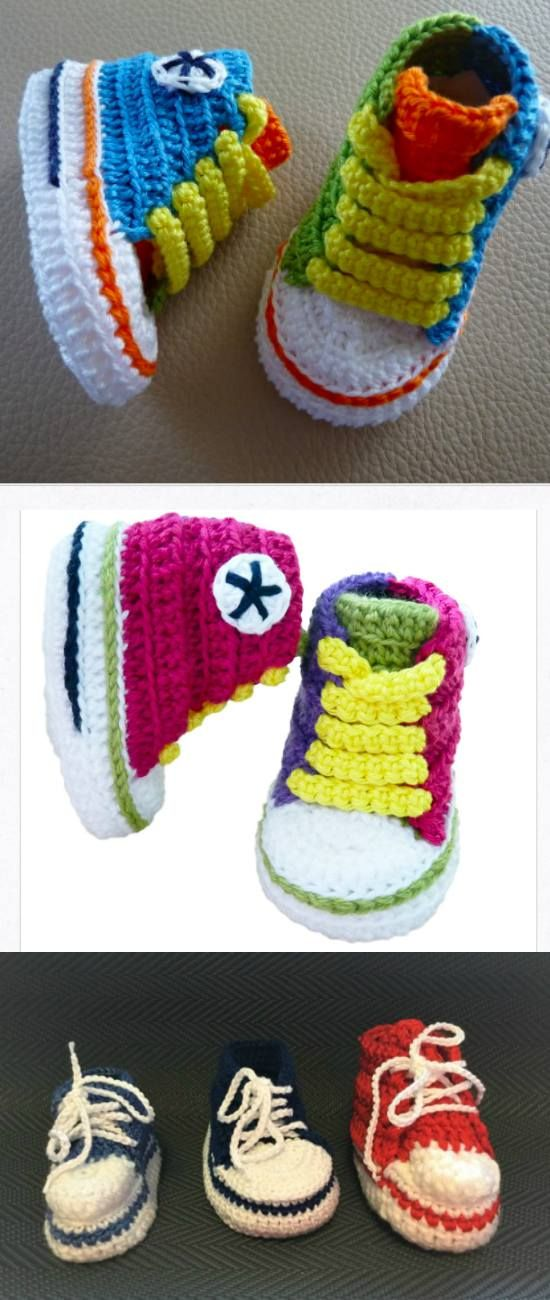 Converse Sneaker - Styled Baby Booties [ Crochet Patterns, Free ...