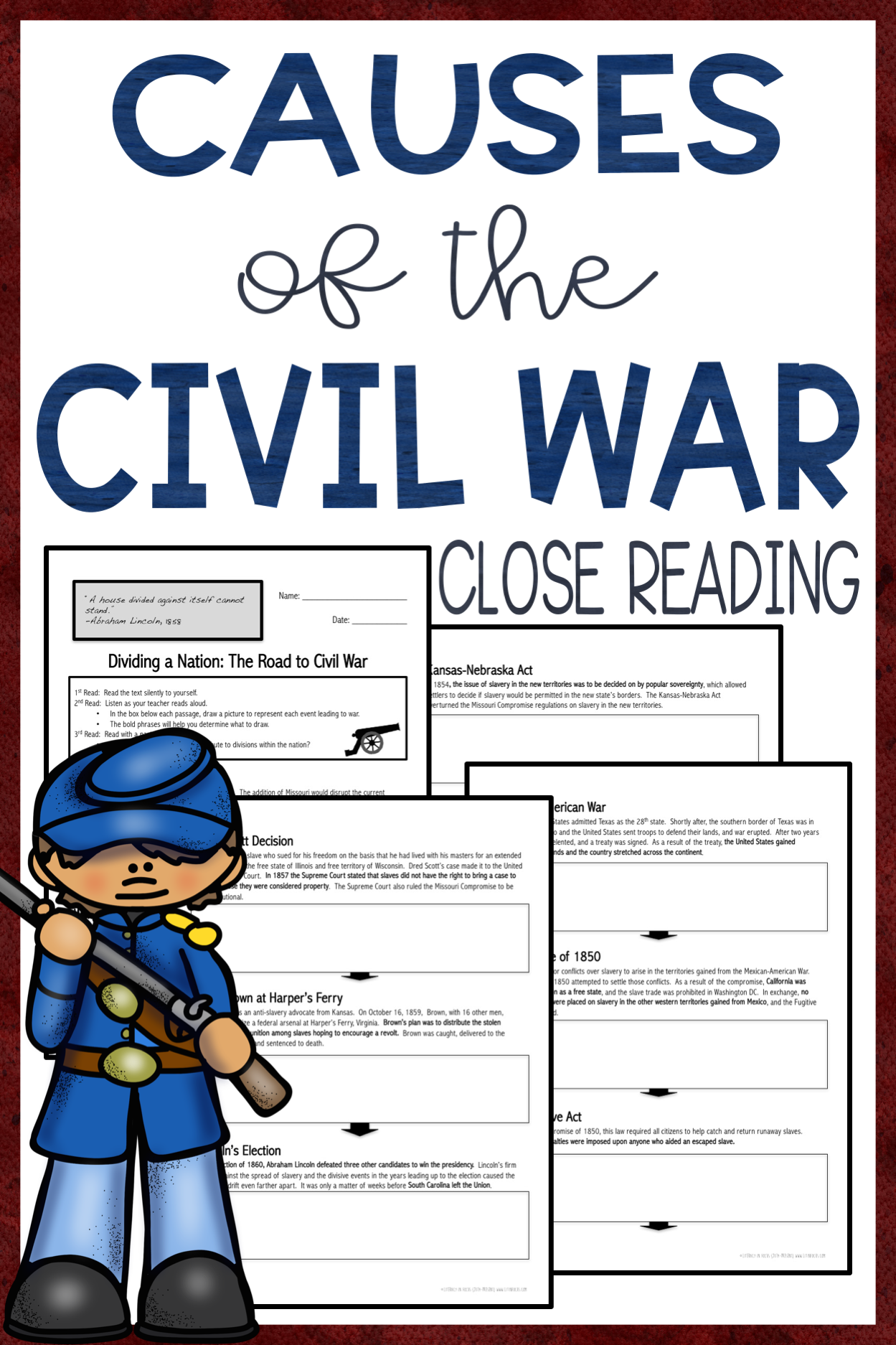Causes Of The Civil War Close Reading Amp Assessment