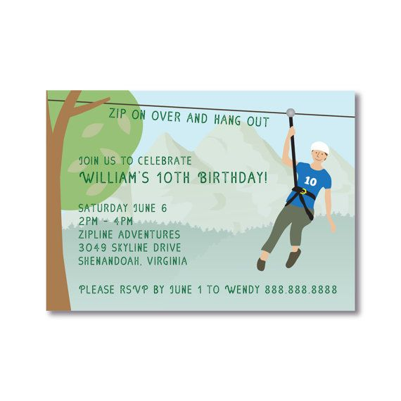 Zip Line Lining Birthday Party Invitation By